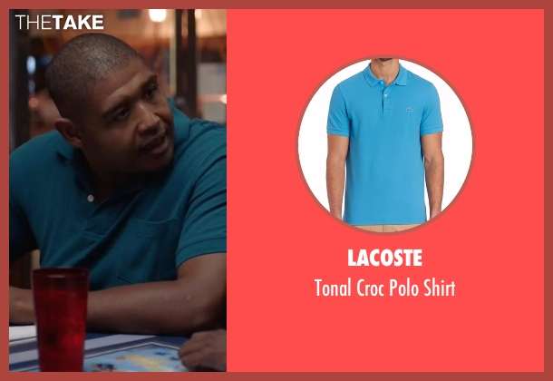 Lacoste  blue shirt from Ballers seen with Charles Greane (Omar Benson Miller)