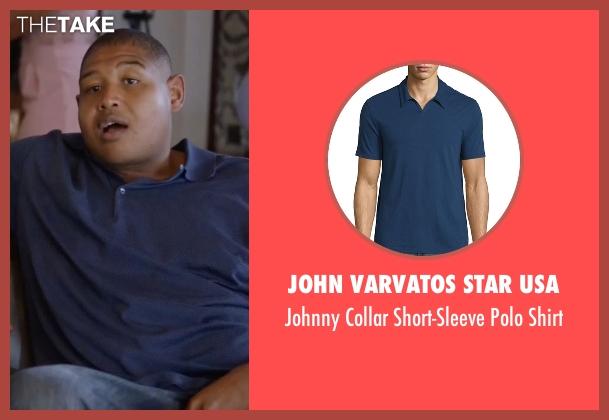 John Varvatos Star USA blue shirt from Ballers seen with Charles Greane (Omar Benson Miller)