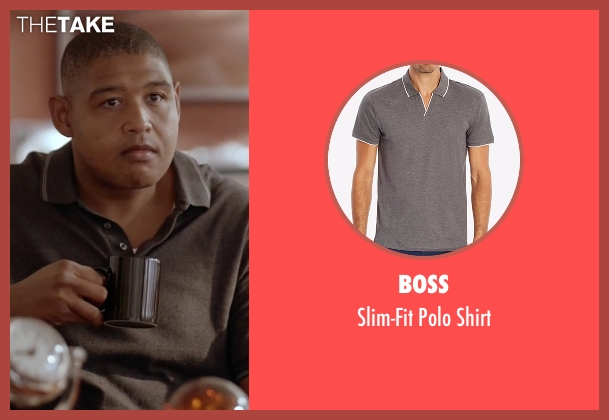 Boss gray shirt from Ballers seen with Charles Greane (Omar Benson Miller)
