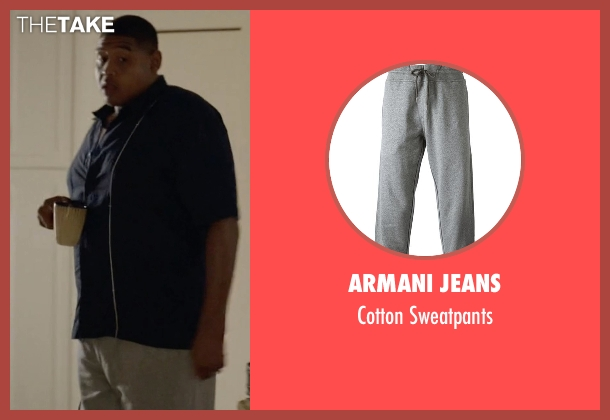 Armani Jeans gray sweatpants from Ballers seen with Charles Greane (Omar Benson Miller)