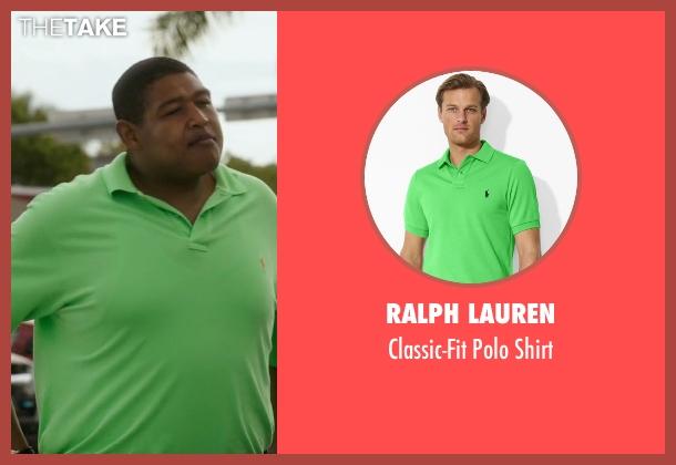 Ralph Lauren green shirt from Ballers seen with Charles Greane (Omar Benson Miller)