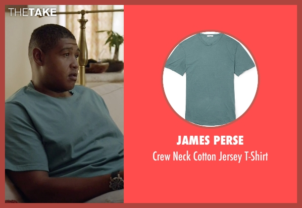 James Perse green t-shirt from Ballers seen with Charles Greane (Omar Benson Miller)