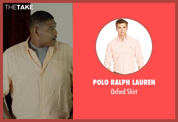 Polo Ralph Lauren orange shirt from Ballers seen with Charles Greane (Omar Benson Miller)