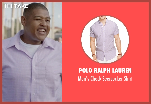 Polo Ralph Lauren purple shirt from Ballers seen with Charles Greane (Omar Benson Miller)