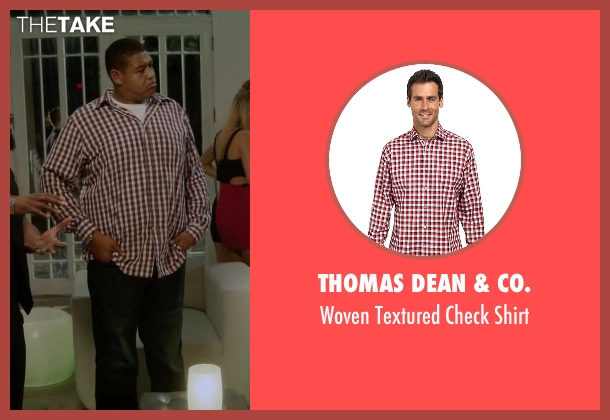 Thomas Dean & Co. red shirt from Ballers seen with Charles Greane (Omar Benson Miller)