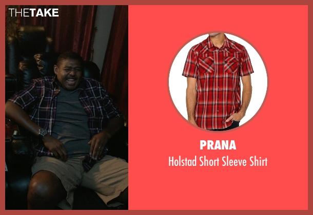 Prana red shirt from Ballers seen with Charles Greane (Omar Benson Miller)