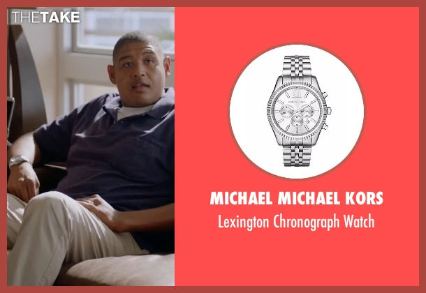 Michael Michael Kors silver watch from Ballers seen with Charles Greane (Omar Benson Miller)