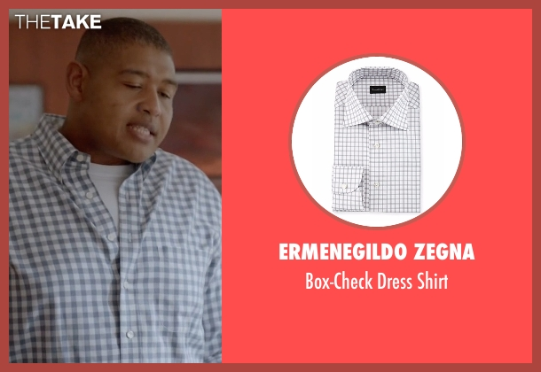 Ermenegildo Zegna white shirt from Ballers seen with Charles Greane (Omar Benson Miller)