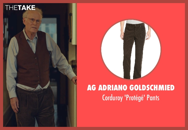 AG Adriano Goldschmied brown pants from While We're Young seen with Charles Grodin (Leslie)