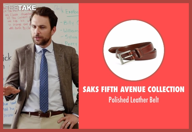 Saks Fifth Avenue Collection brown belt from Fist Fight seen with Charlie Day (Andy Campbell)