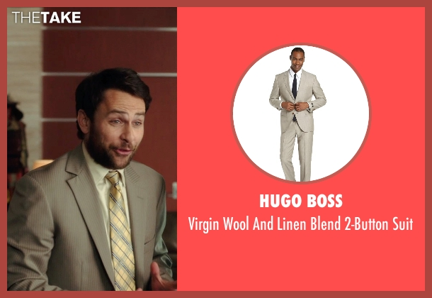Hugo Boss beige suit from Horrible Bosses 2 seen with Charlie Day (Dale Arbus)