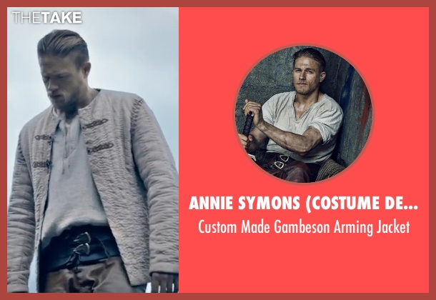 Annie Symons (Costume Designer) beige jacket from King Arthur: Legend of the Sword seen with Charlie Hunnam (King Arthur)