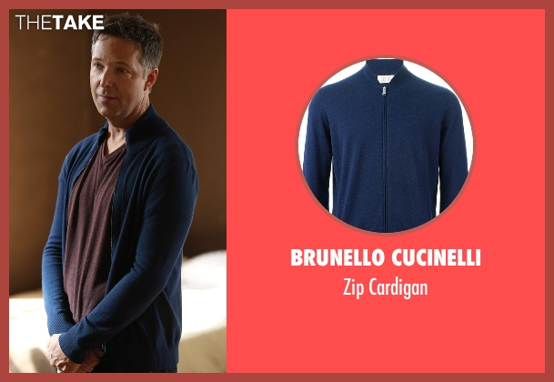 Brunello Cucinelli blue cardigan from Scandal seen with Charlie (George Newbern)
