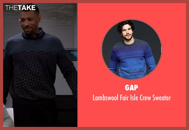Gap blue sweater from Black-ish seen with Charlie Telphy (Deon Cole)