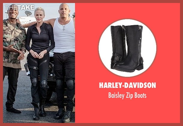 Harley-Davidson black boots from Fast 8 seen with Charlize Theron (Cipher)