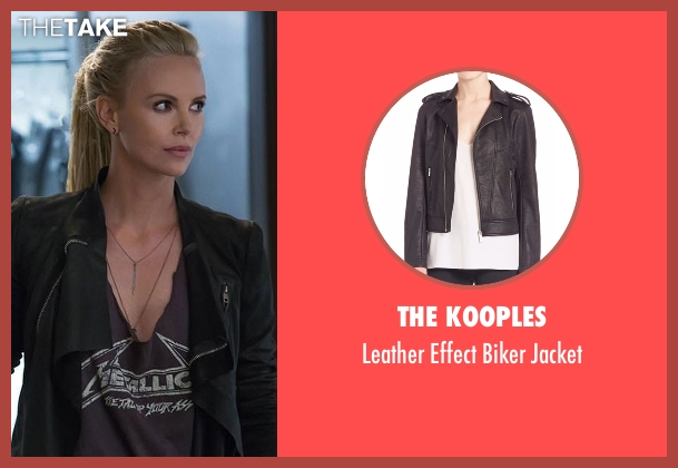 The Kooples black jacket from Fast 8 seen with Charlize Theron (Cipher)