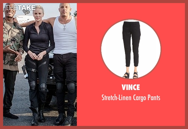 Vince black pants from Fast 8 seen with Charlize Theron (Cipher)