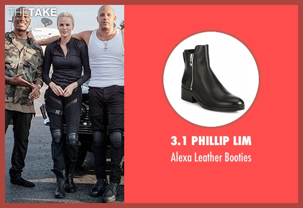 3.1 Phillip Lim black booties from The Fate of the Furious seen with Charlize Theron (Cipher)