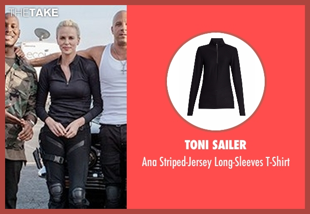 Toni Sailer black t-shirt from The Fate of the Furious seen with Charlize Theron (Cipher)
