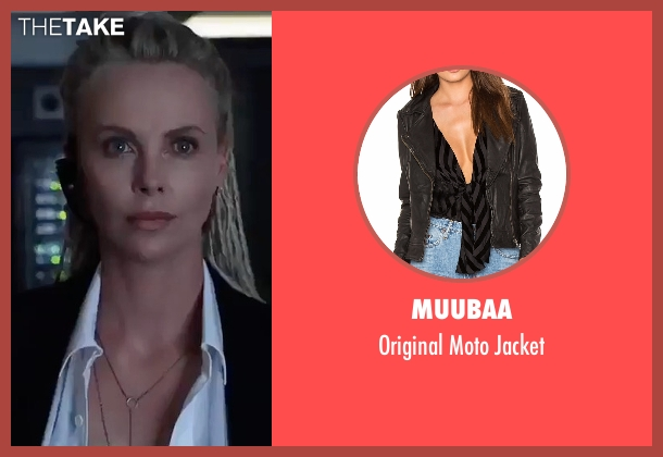 Muubaa black jacket from The Fate of the Furious seen with Charlize Theron (Cipher)
