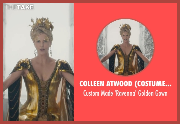 Colleen Atwood (Costume Designer) gold gown from The Huntsman: Winter's War seen with Charlize Theron (Ravenna)