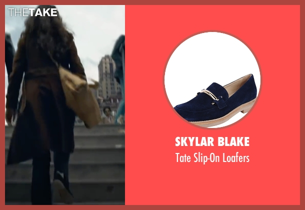 Skylar Blake blue loafers from The Walk seen with Charlotte Le Bon (Annie Allix)