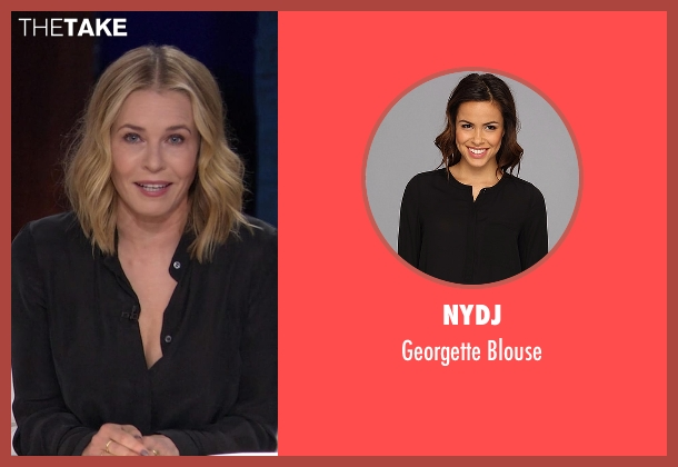 NYDJ black blouse from Chelsea seen with Chelsea Handler