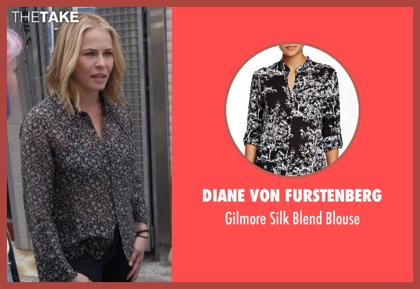 Diane Von Furstenberg black blouse from Chelsea seen with Chelsea Handler