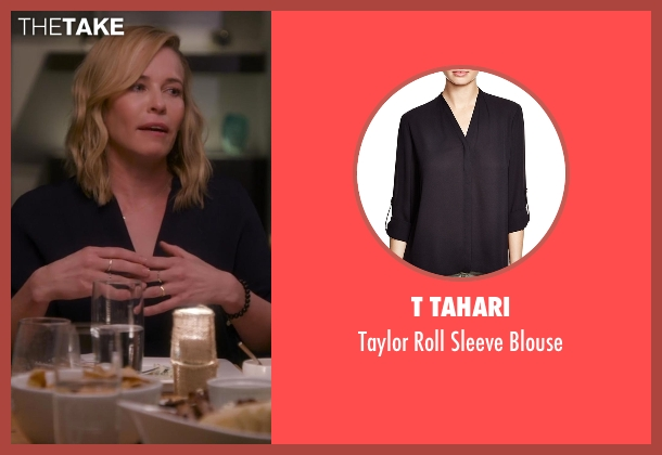 T Tahari black blouse from Chelsea seen with Chelsea Handler