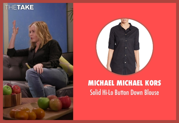 Michael Michael Kors black blouse from Chelsea seen with Chelsea Handler