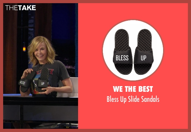 We The Best black sandals from Chelsea seen with Chelsea Handler