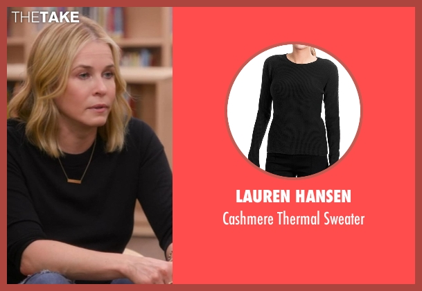 Lauren Hansen black sweater from Chelsea seen with Chelsea Handler