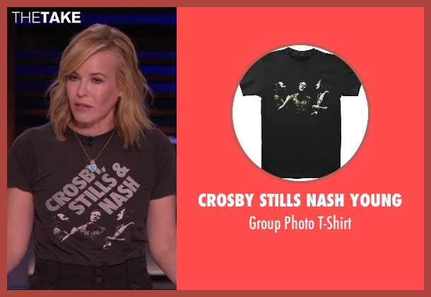 Crosby Stills Nash Young black t-shirt from Chelsea seen with Chelsea Handler