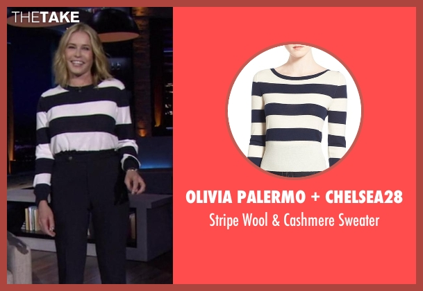 Olivia Palermo + Chelsea28 blue sweater from Chelsea seen with Chelsea Handler