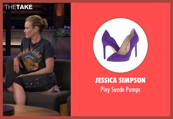 Jessica Simpson purple pumps from Chelsea seen with Chelsea Handler