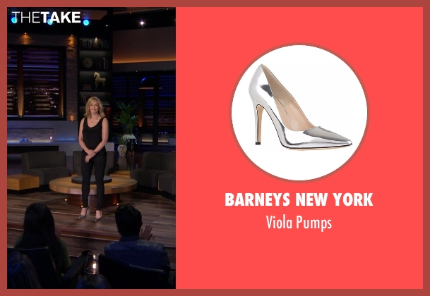 Barneys New York silver pumps from Chelsea seen with Chelsea Handler
