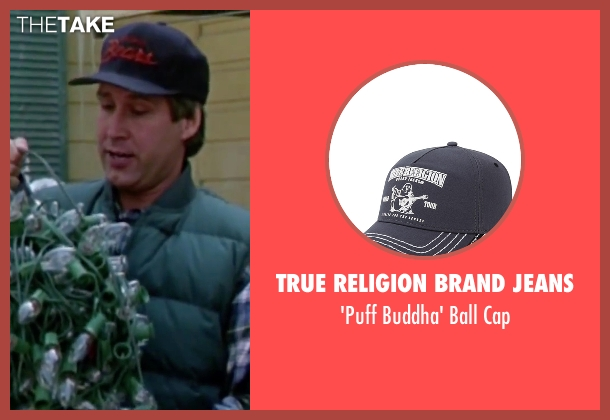 True Religion Brand Jeans blue cap from Christmas Vacation seen with Chevy Chase (Clark)