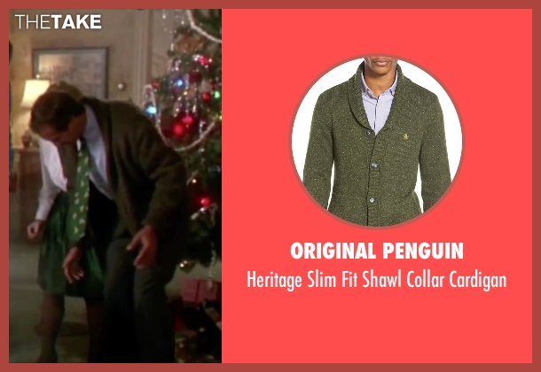 Original Penguin green cardigan from Christmas Vacation seen with Chevy Chase (Clark)