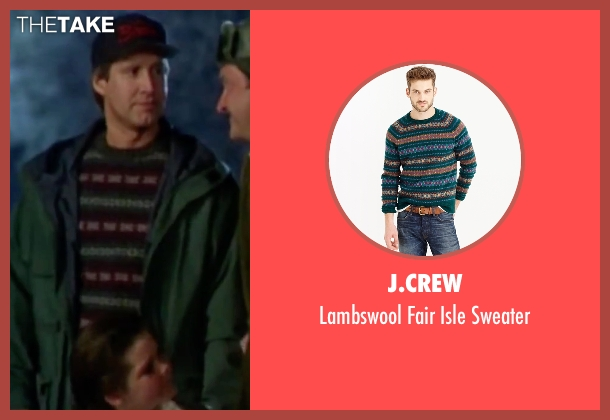 J.Crew green sweater from Christmas Vacation seen with Chevy Chase (Clark)