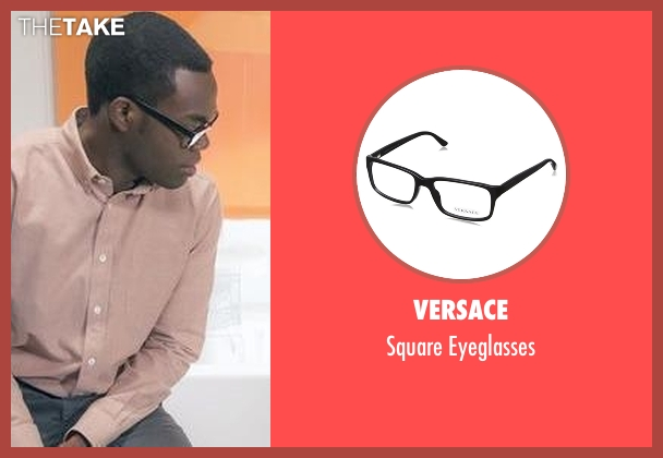 Versace black eyeglasses from The Good Place seen with Chidi Anagonye (William Jackson Harper)