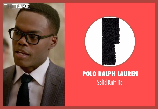 Polo Ralph Lauren black tie from The Good Place seen with Chidi Anagonye (William Jackson Harper)