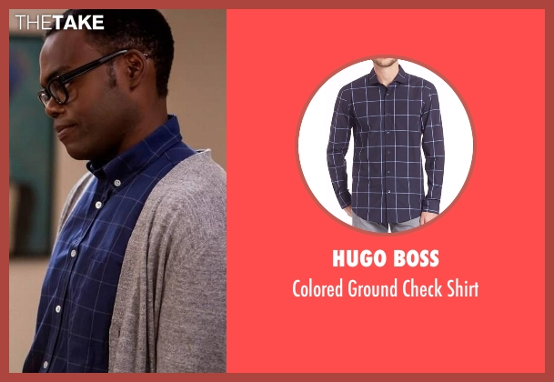 Hugo Boss blue shirt from The Good Place seen with Chidi Anagonye (William Jackson Harper)