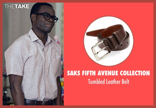 Saks Fifth Avenue Collection  brown belt from The Good Place seen with Chidi Anagonye (William Jackson Harper)
