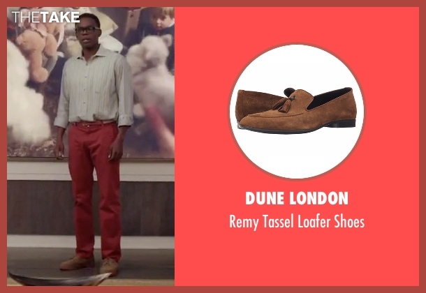 Dune London brown shoes from The Good Place seen with Chidi Anagonye (William Jackson Harper)
