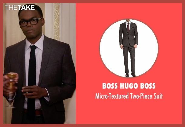 Boss Hugo Boss brown suit from The Good Place seen with Chidi Anagonye (William Jackson Harper)