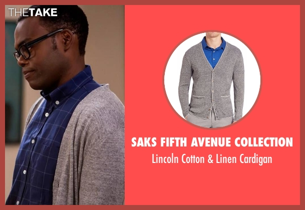 Saks Fifth Avenue Collection gray cardigan from The Good Place seen with Chidi Anagonye (William Jackson Harper)
