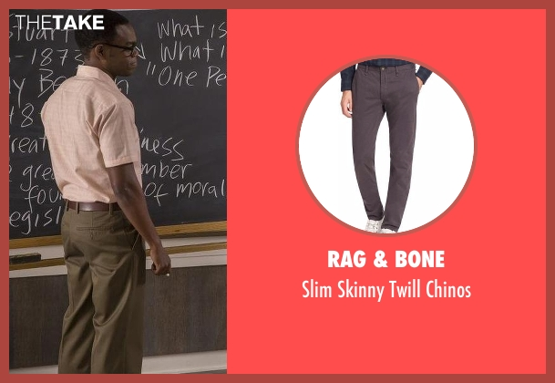 Rag & Bone gray chinos from The Good Place seen with Chidi Anagonye (William Jackson Harper)