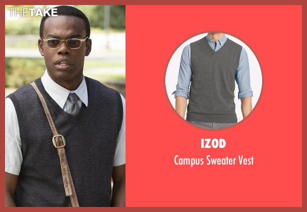 IZOD  gray vest from The Good Place seen with Chidi Anagonye (William Jackson Harper)