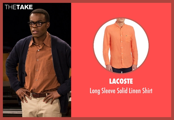 Lacoste orange shirt from The Good Place seen with Chidi Anagonye (William Jackson Harper)