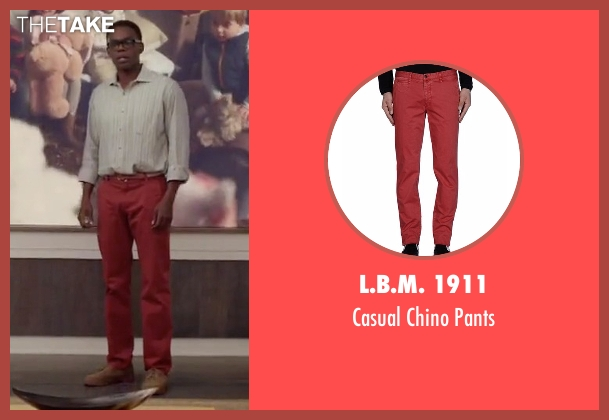 L.B.M. 1911 red pants from The Good Place seen with Chidi Anagonye (William Jackson Harper)